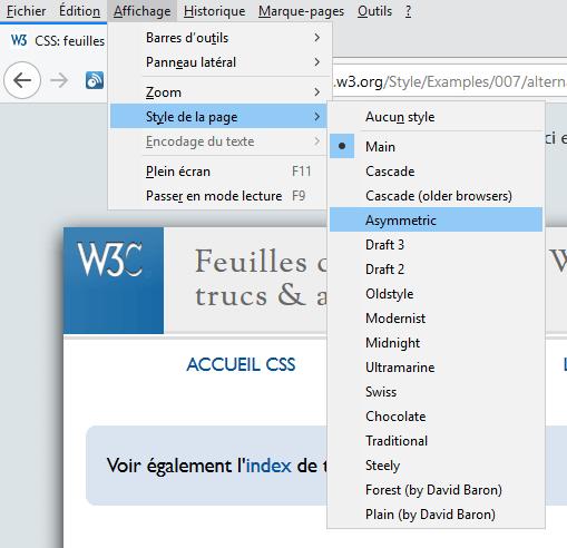 Exemple de rendu dans Firefox des feuilles de style alternatives